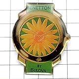 限定 レア ピンバッジ 花柄ベネトン腕時計ブローバ社 ピンズ フランス