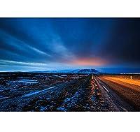 Chunxd カスタム3D壁画壁紙、アイスランド風景道路スカイ自然壁紙、リビングルームソファテレビ壁寝室3D壁紙-200X140Cm