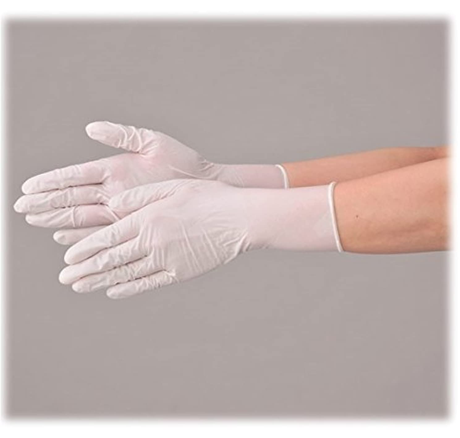 場所がんばり続ける合金使い捨て 手袋 エブノ 572 ニトリルNEOプラス ホワイト Mサイズ パウダー付き 2ケース(100枚×40箱)