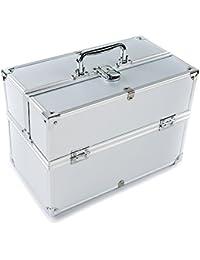 MCTECH コスメボックス 薬箱 救急箱 収納ボックス キャリーボックス ネイリスト用バッグ アルミ製 持ち運び 鍵付き シルバー
