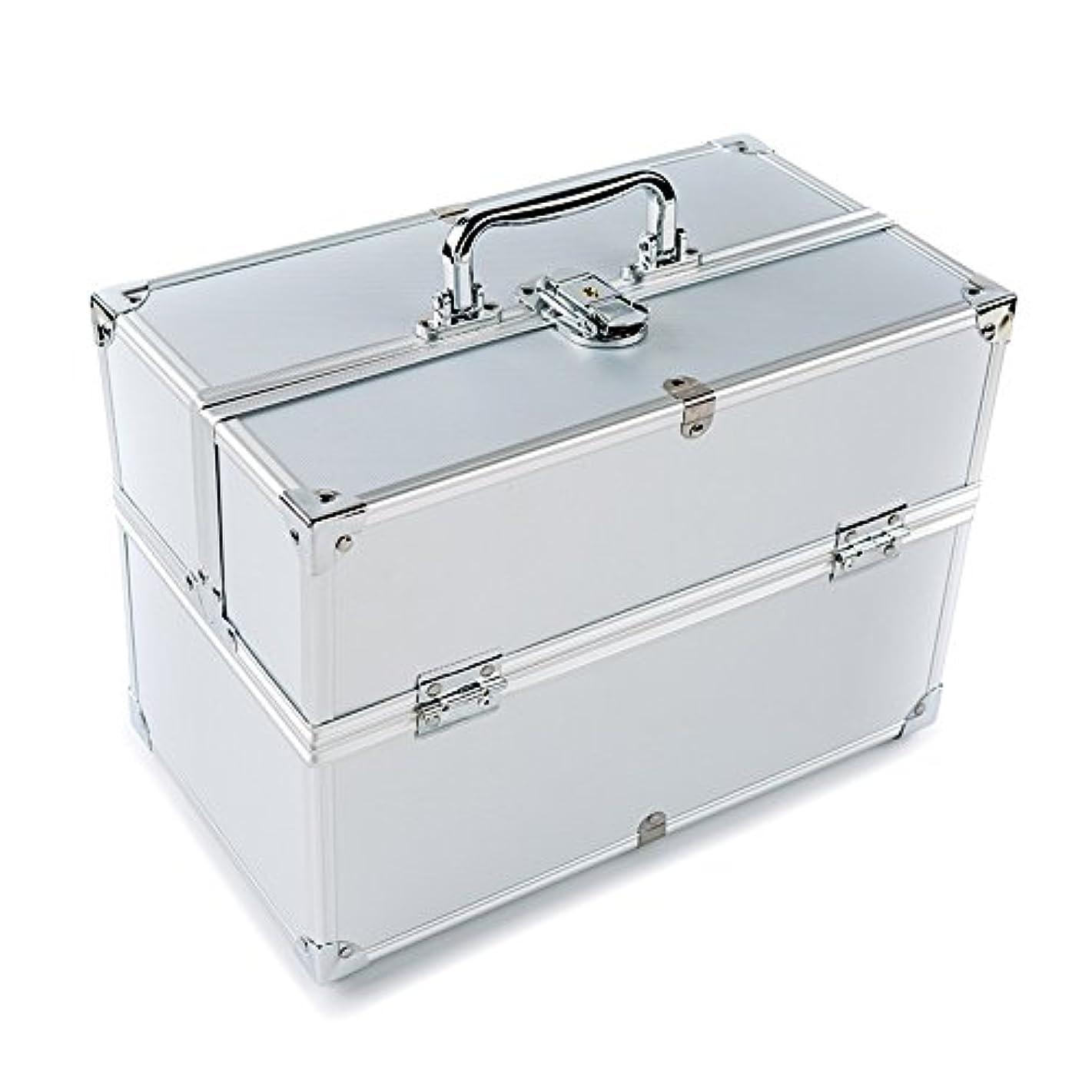 援助自分を引き上げる気性MCTECH コスメボックス 薬箱 救急箱 収納ボックス キャリーボックス ネイリスト用バッグ アルミ製 持ち運び 鍵付き シルバー