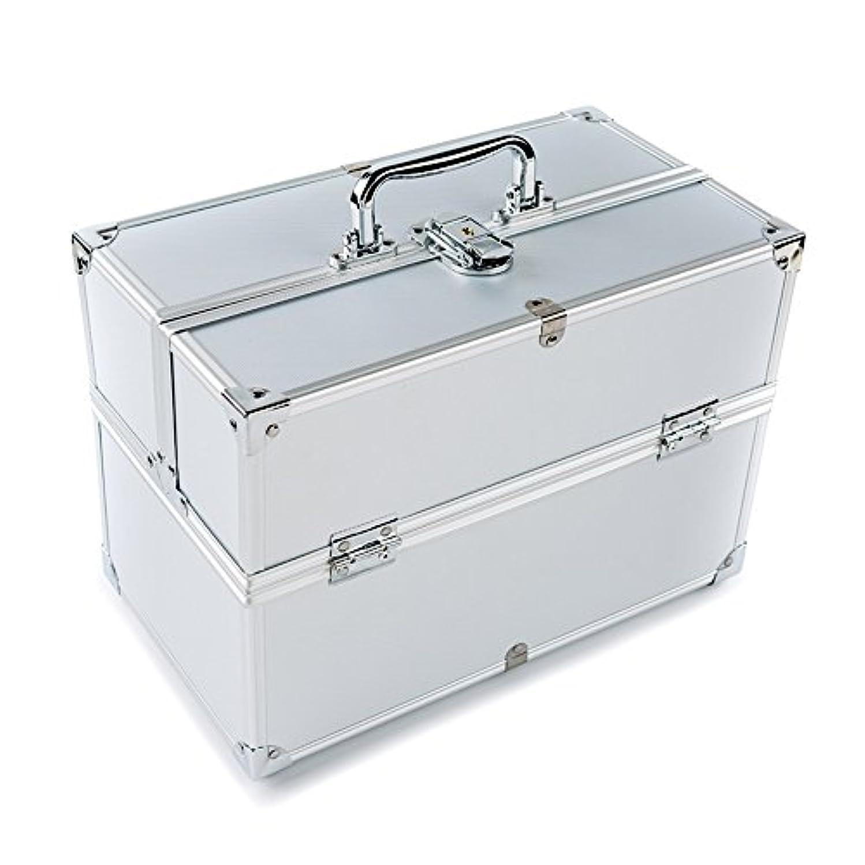 周辺降臨赤外線MCTECH コスメボックス 薬箱 救急箱 収納ボックス キャリーボックス ネイリスト用バッグ アルミ製 持ち運び 鍵付き シルバー