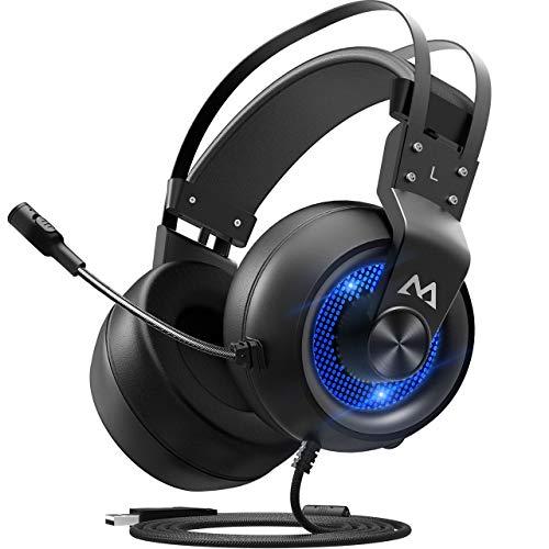 Mpow EG3 ゲーミングヘッドセット 7.1サラウンド サウンド ヘッドセット 高音質 ノイズキャンセルマイク付き 50MMドライバー 自動調整ヘッドバンド USB接続 ゲーム用 PC/PS4/PS4 Pro/PS4 Slim/MAC OS対応 ヘッドフォン ブルー