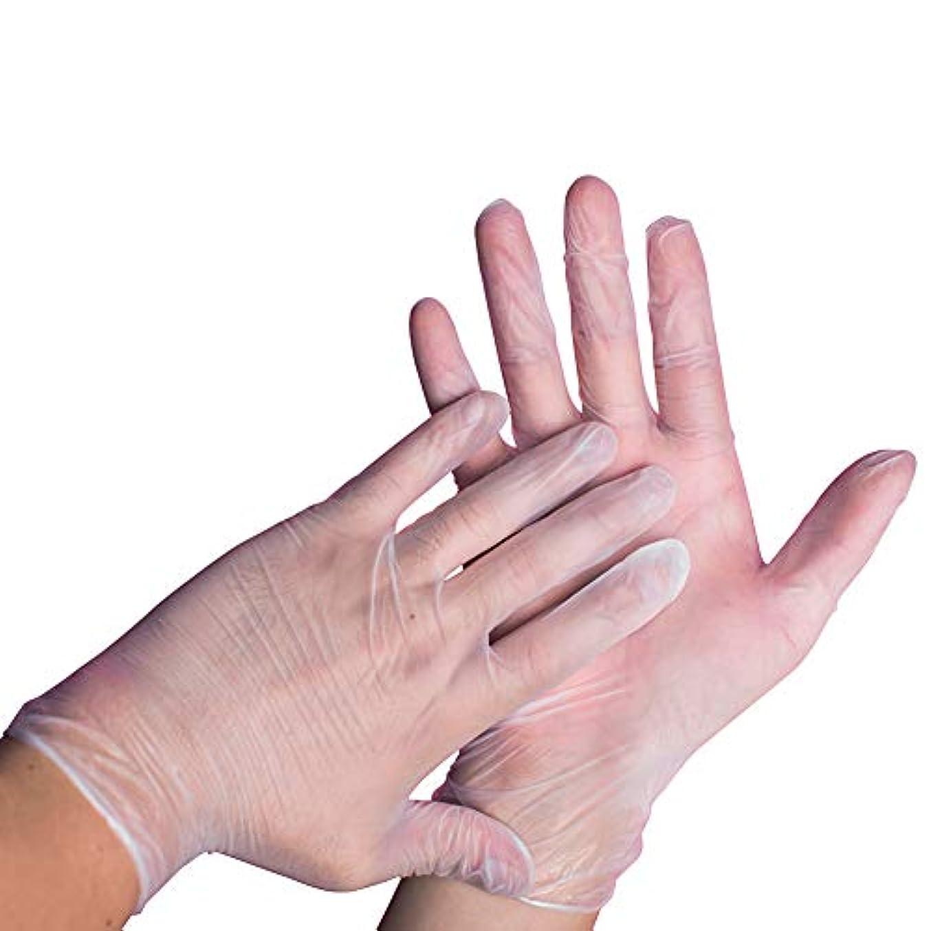 Luka 使い捨てPVC手袋 透明 粉フリー ビニール手袋 家庭用 検査用手袋