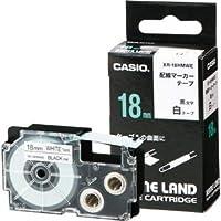 (まとめ)カシオ NAME LAND配線マーカーテープ 18mm×5.5m 白/黒文字 XR-18HMWE 1個【×5セット】 〈簡易梱包
