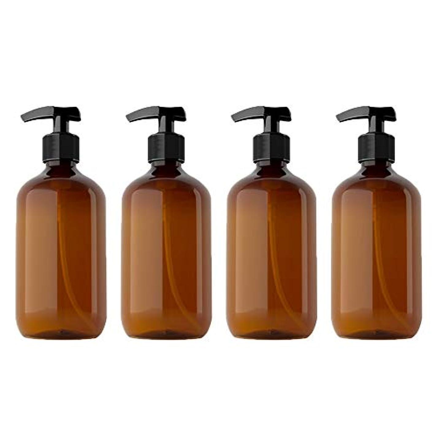ミニ舌な望まない500mlペットローションボトルシャンプーボトル、4パック空のPlasticプラスチックポンプボトル、詰め替えローション液体石鹸ポンプエッセンシャルオイル、クリーニング製品、ローションの茶色のボトル