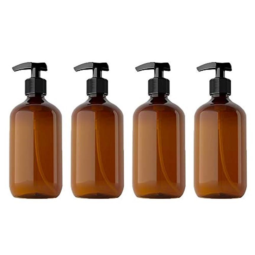 ナチュラル再び曖昧な500mlペットローションボトルシャンプーボトル、4パック空のPlasticプラスチックポンプボトル、詰め替えローション液体石鹸ポンプエッセンシャルオイル、クリーニング製品、ローションの茶色のボトル