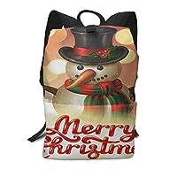 スクールバッグメリークリスマススノーフレークスノーポルカドットバックパック男性と女性のバックパック大容量学生のバックパック防水トラベルバッグ