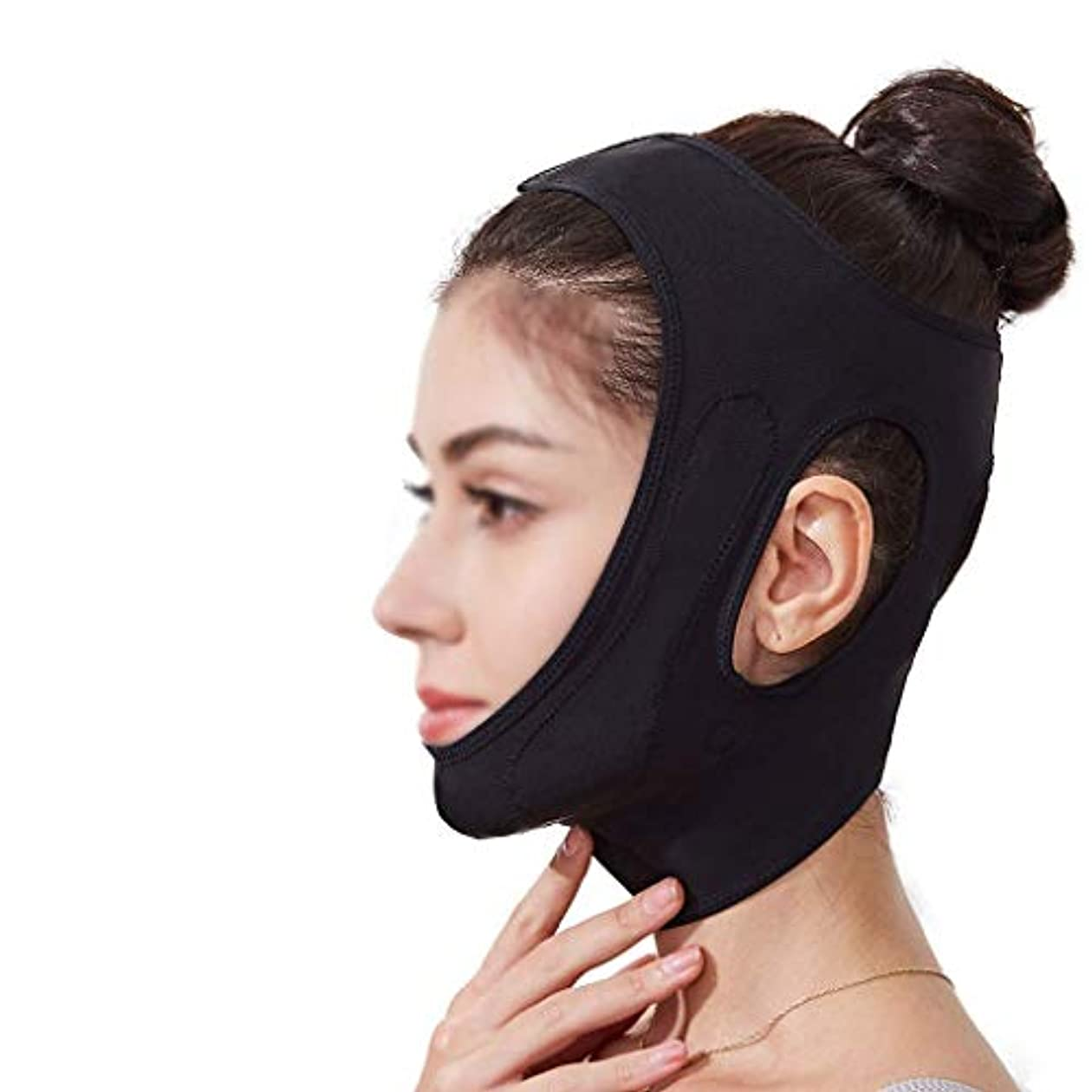 ばかダイジェスト製造フェイスリフティングバンデージ、顔の頬V字型リフティングフェイスマスクしわの軽減ダブルチン快適な包帯で小さなVフェイスを作成(色:黒)