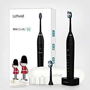 loftwell 電動歯ブラシ 超音波振動歯ブラシ 4モード 各モードの振動が3段階調節可 電動歯ブラシ 替えブラシ2本 舌ブラシ D5 ブラック