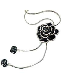 SNOWINSPRING 女性用花ロング調節可能なチェーンペンダントセーターネックレス(バラ花ネックレス)