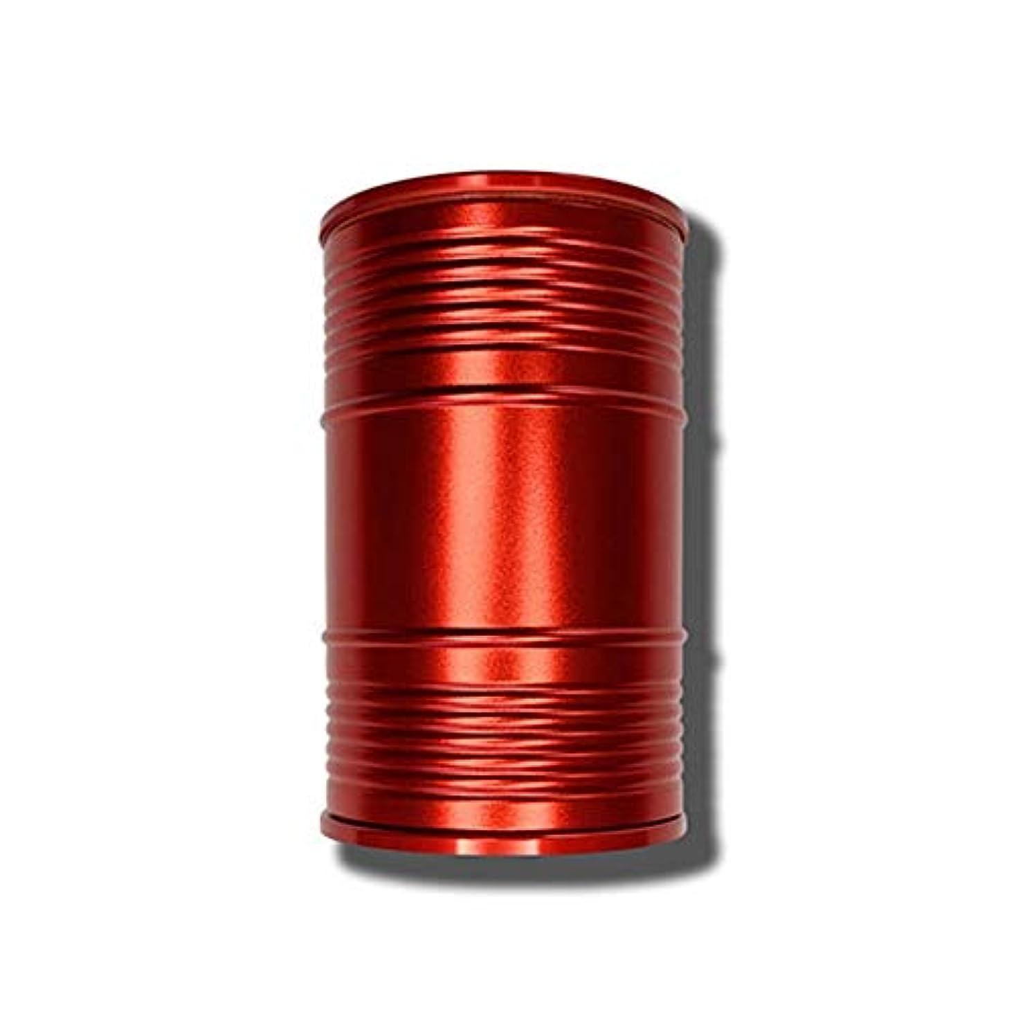 指標モバイル病者創造的なオイルバレル形状ミニ車ポータブル灰皿カバーデザイン個性創造的な金属室内装飾、品質保証 (色 : 赤)