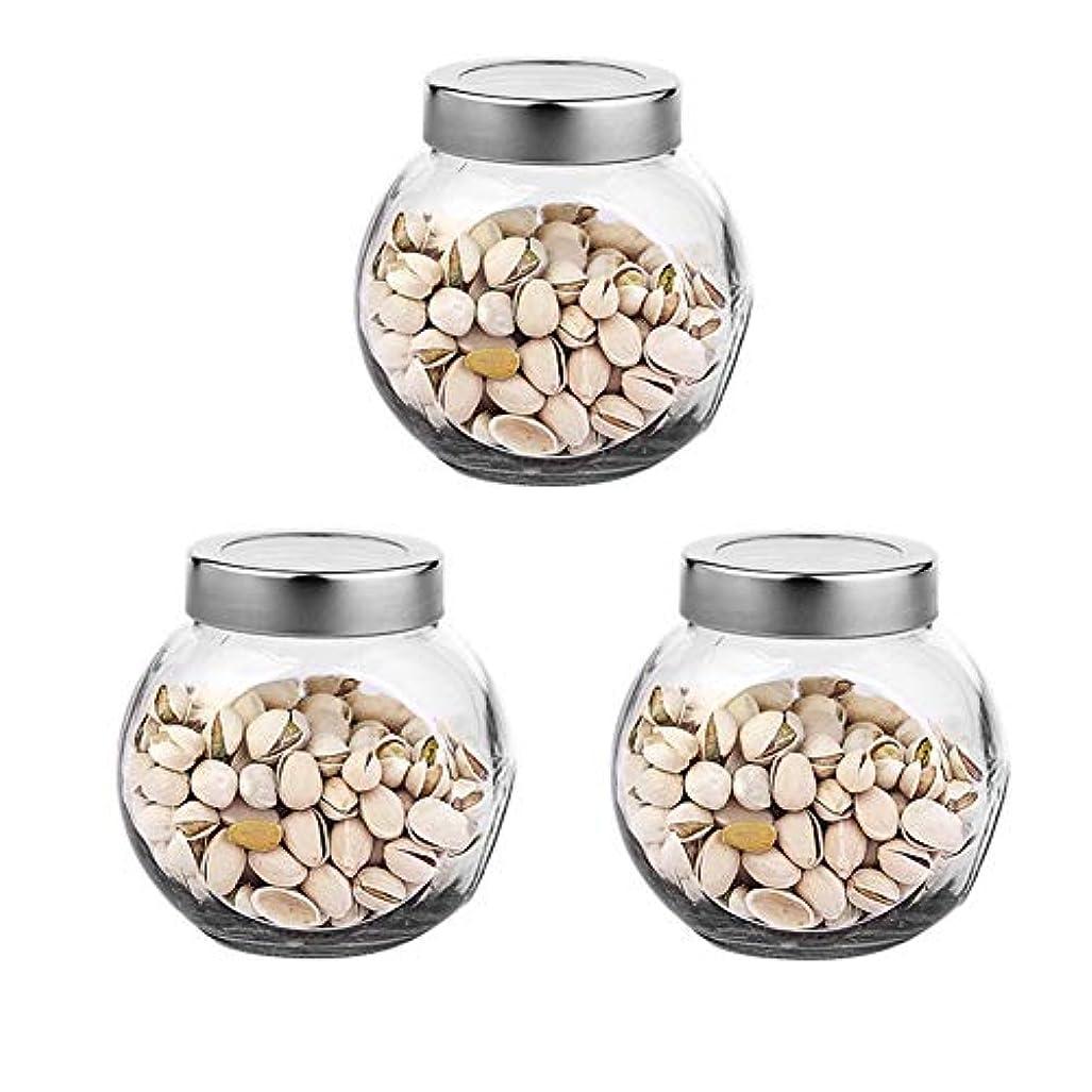 アナリスト旧正月誘惑する3つの透明ガラス貯蔵容器茶/季節密封缶の貯蔵瓶パック(650 ml)