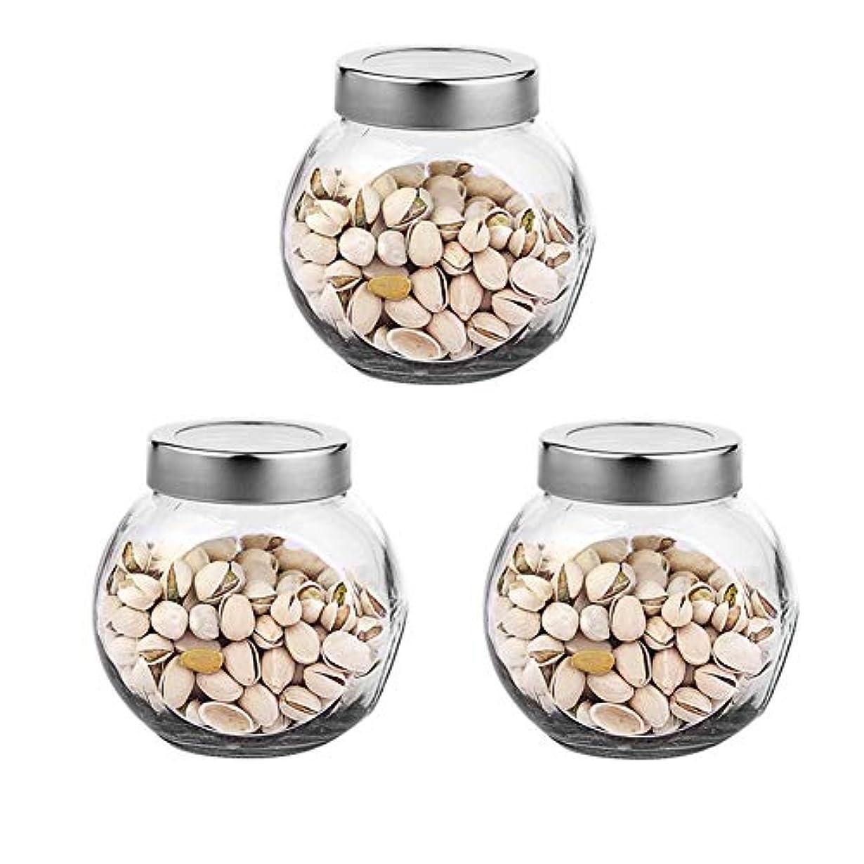 意図キルト隙間3つの透明ガラス貯蔵容器茶/季節密封缶の貯蔵瓶パック(650 ml)