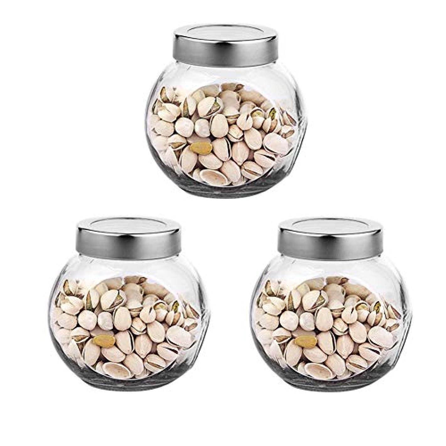 記念品船尾ピカリング3つの透明ガラス貯蔵容器茶/季節密封缶の貯蔵瓶パック(650 ml)