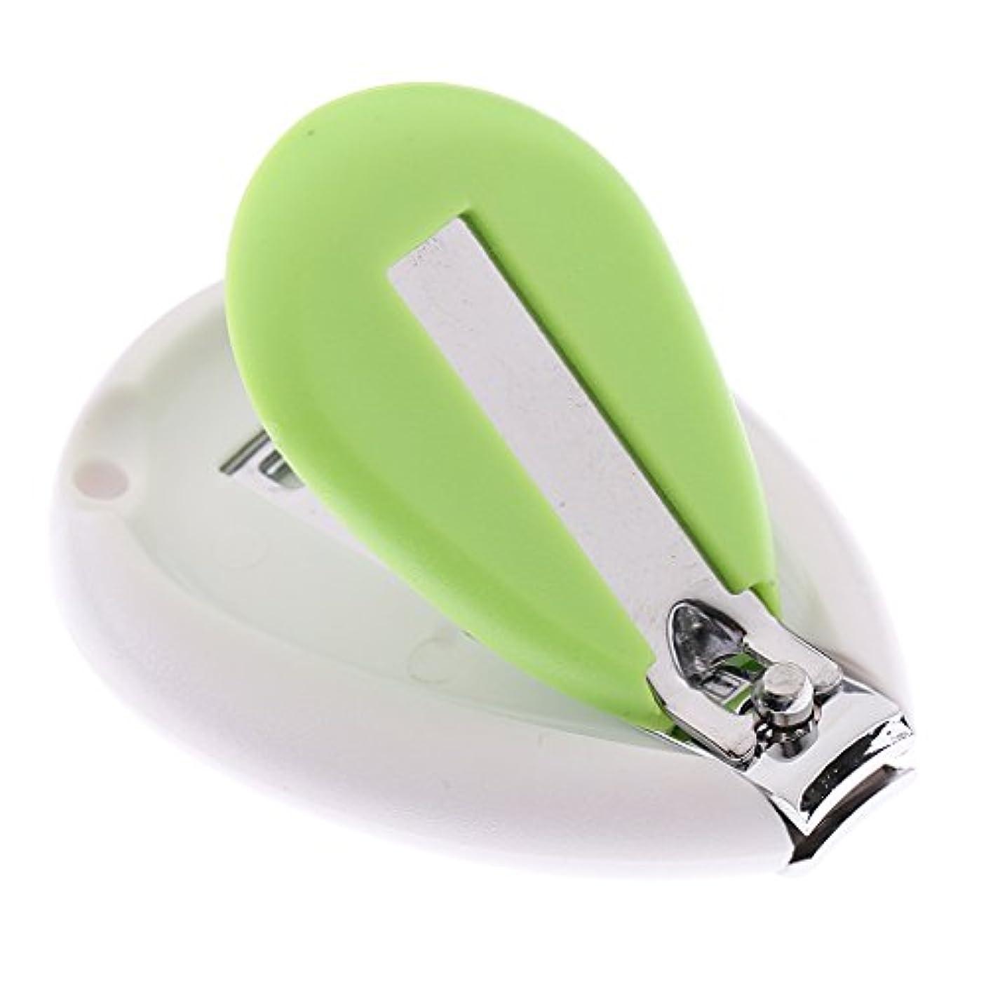 未就学ビットイディオムキッズ 赤ちゃん ネイル クリッパー はさみ トリマー カッター 安全 人間工学 全3色 - 緑