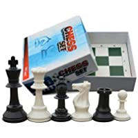 School and Chess Club Chess Set, 34 Chess Pieces (2 Extra Queens) & Green Folding Chess Board by ChessCentral [並行輸入品]