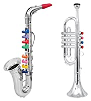 Click n' Play Set of 2 Musical Wind Instruments for Kids - Metallic Silver Saxophone and Trumpet Horn by Click N' Play
