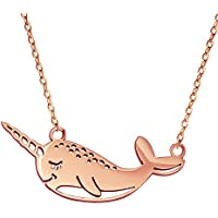 "YOUCANDOIT2 Cute Narwhal Unicorn of The Sea Necklace Geometric Jewelry for Women Girls 18"" (Necklace, Rose-Gold-Plated-Stainless-Steel)"