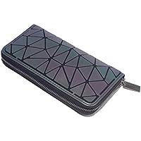 Geometric Rhomboids Lattice Long Wallet and Purse Fashion Luminous Lattice Zip Purse Clutch for Women