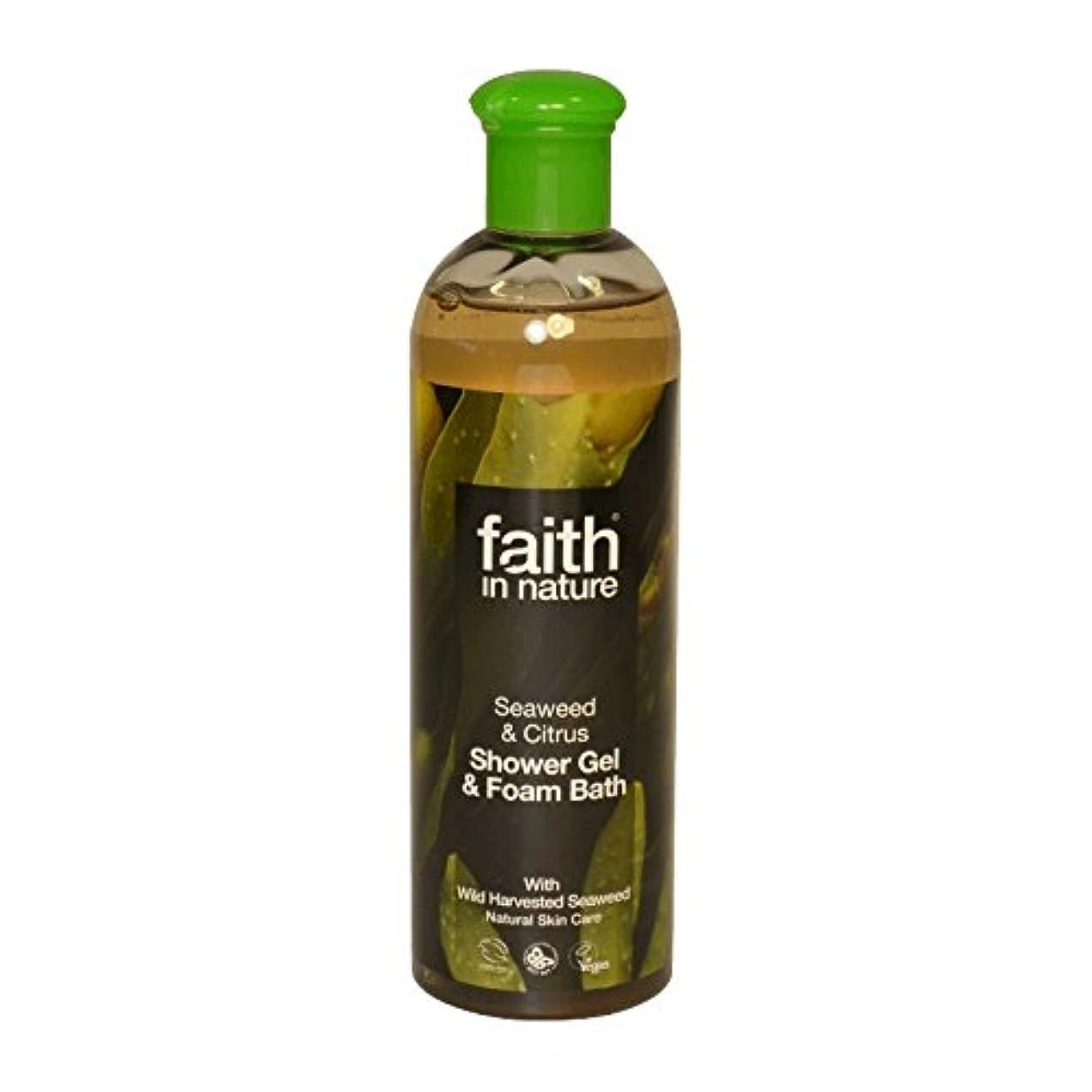 記念碑的なシャイニング物理Faith in Nature Seaweed & Citrus Shower Gel & Bath Foam 400ml (Pack of 2) - 自然の海藻&シトラスシャワージェル&バス泡400ミリリットルの信仰...