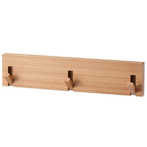 無印良品 壁に付けられる家具・3連ハンガー・タモ材/ナチュラル 幅44×奥行2.5×高さ10cm