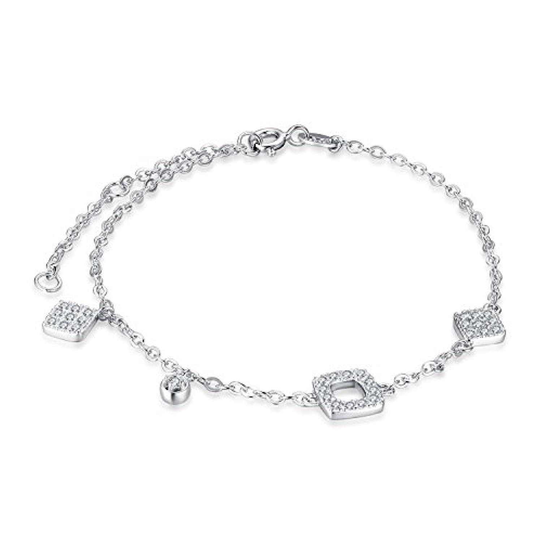 JewelryPalace チャーム 0.5CT ラウンド キュービック?ジルコニア (CZ) ブレスレッド チエーン スターリング シルバー925