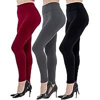 Diravo 6 Pack Women's Fleece Lined Leggings Soft High Waist Slimming Winter Warm Leggings