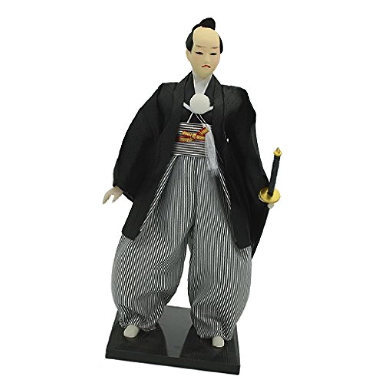 Fenteer 手作り 黒いコート 縞ズボン 日本サムライ人形 12インチ アクションフィギュア オリエンタルドール 模型