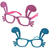 Toyvian 2ピースウサギ耳メガネプロップかわいい面白い輝くイースター装飾メガネ用お祝いパーティーキッドガール女性(ピンク、ブルー)