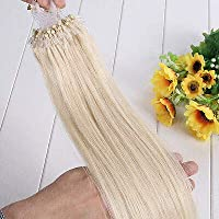FidgetGear 7A 16-26インチのRemyの人間の毛髪延長の容易なループマイクロリングシリコーンビーズ #613最軽量金髪