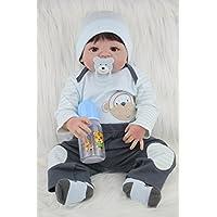 AnneDoll 男の子 赤ちゃん 人形 リボーンドール 22インチ 55cm 生きているような 全身 シリコーン ビニール 新生児 白い肌 入浴 玩具 誕生日/クリスマスギフト