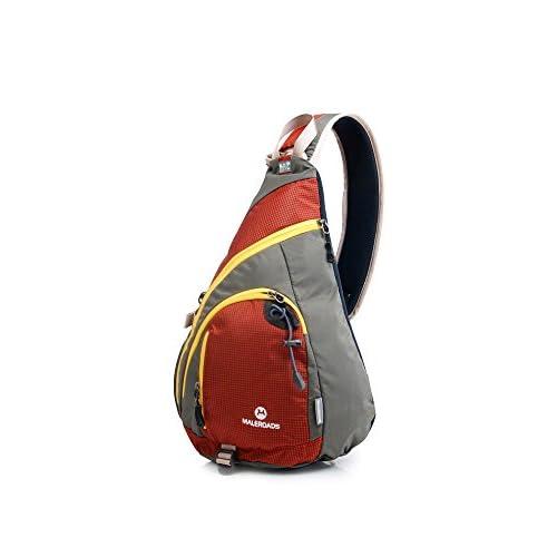 Maleroads ワンショルダーバッグ ミニボディバッグ 斜め掛け サイクリングバッグ アウトドア 輪行バッグ 軽量 高収納力 A4対応 耐久生地使用 (オレンジ/グレー)