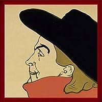 ポスター アンリ ド トゥールーズ ロートレック Aristide Bruant (detail) 額装品 ウッドベーシックフレーム(レッド)