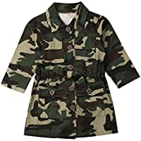 Toddler Little Girl Camouflage Jacket Coat Letter Heart Print Button Down Outerwear Winter/Fall/Spring Kids Clothing
