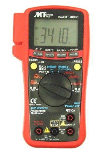 マザーツール PC対応デジタルマルチメータ MT-4520 電流・電圧・抵抗 温度測定機能付き 据え置きスタンド 大型液晶表示 PC接続でデータ通信