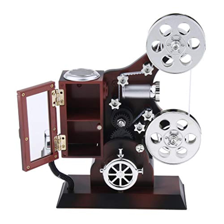 KOZEEY レトロ 映画プロジェクター 時計仕掛け 音楽ボックス 時計 おもちゃ 机 装飾用品