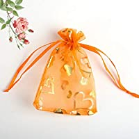 100のギフトバッグ - 透明モノクロ真珠のメッシュバッグ、ハート形のパターンをブロンズ、ロープのオープニング、結婚式のキャンディーバッグ/化粧バッグ/クリスマスギフトバッグを描きます 贈り物 (Color : Orange, Size : 13x18cm)