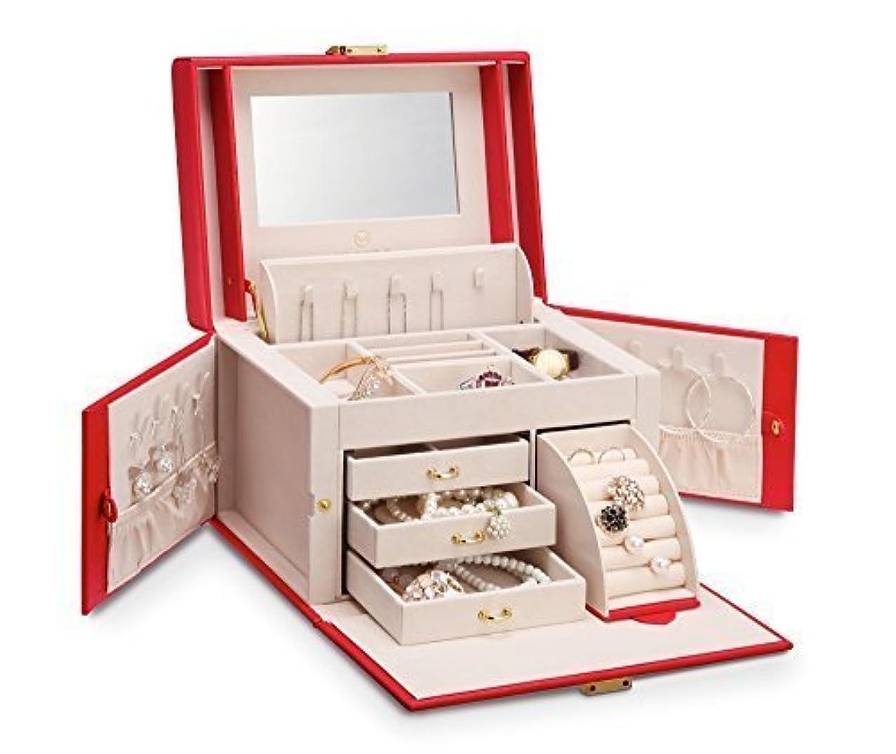 それぞれ仲間、同僚仲間、同僚Vlando ジュエリーボックス 収納 アクセサリーケース 大容量の宝石箱 ミラー 鏡付き ピアス ネックレス 指輪 リング アクセサリー 指輪置き ジュエリーバッグ 6色 (赤)