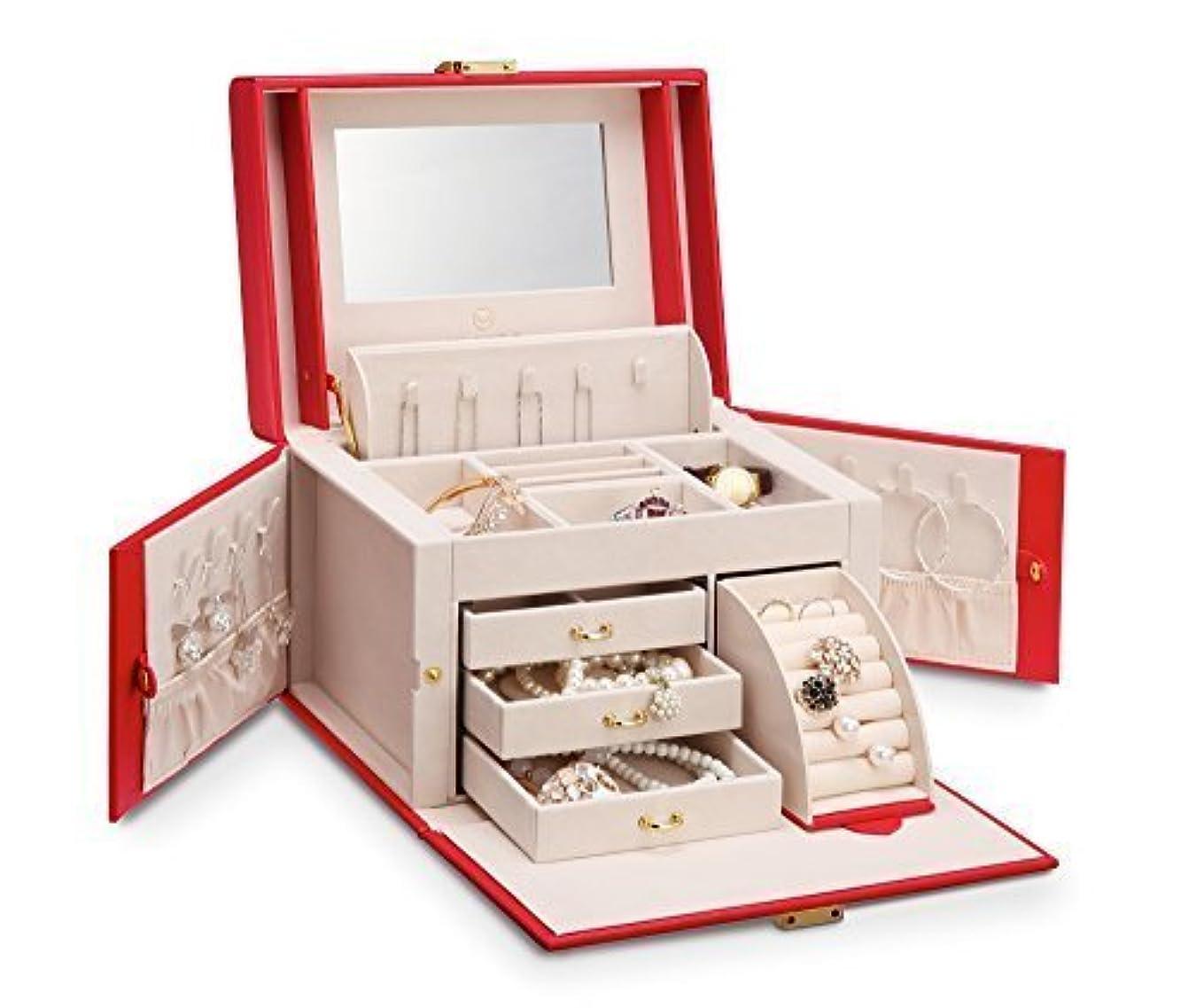 サロン交流するトムオードリースVlando ジュエリーボックス 収納 アクセサリーケース 大容量の宝石箱 ミラー 鏡付き ピアス ネックレス 指輪 リング アクセサリー 指輪置き ジュエリーバッグ 6色 (赤)