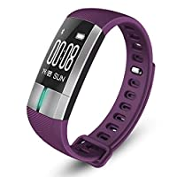 スマートブレスレットスポーツブレスレット歩数計心拍数血圧計心電図bluetoothフィットネストラッカー,Purple