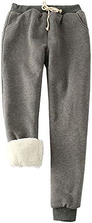 Flygo Womens Casual Winter Warm Fleece Pants Sherpa Lined Sweatpants Active Running Jogger Pants