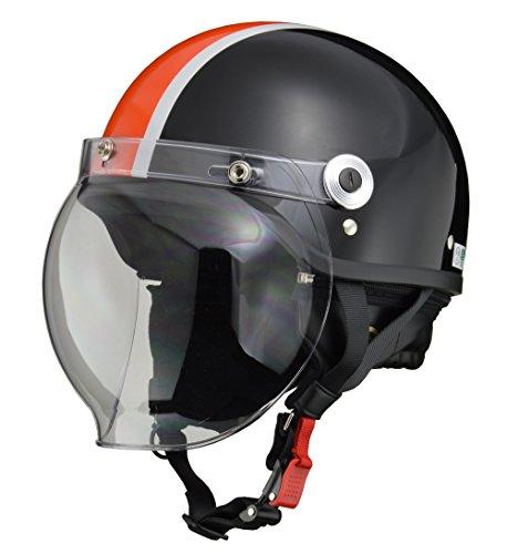 リード工業(LEAD) バイクヘルメット ジェット CROSS バブルシールド付き ブラック×オレンジ CR-760 -