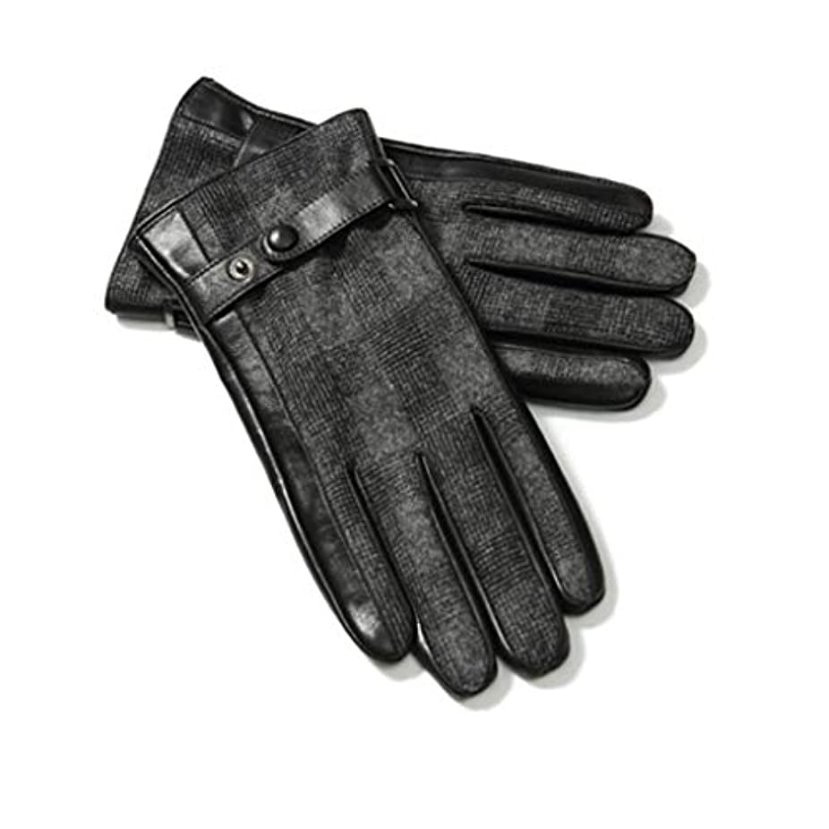 レザーグローブメンズ秋冬ファッションプラスベルベット厚い暖かい防風コールドライディングバイクタッチスクリーンレザーグローブ男性ギフトボックスGLZ003 Lコード