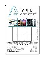 AppFactory EXPERT 8ミル 穴あき 8アップブックマーク 防水 破れにくい レーザー/コピー用紙 25枚パック (8.5x11)