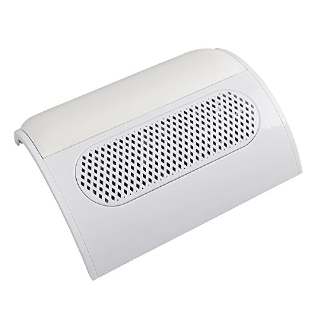 ボタン装備する伝導率(ビュティー)Biutee メタリックホワイト ネイルダスト 3連ファン集塵機 集塵バック3枚付き ダストクリーナー ジェルネイル ネイル機器 (白)