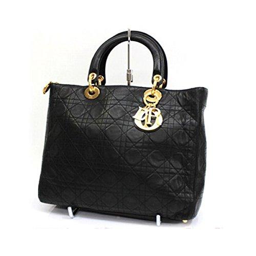 (クリスチャン・ディオール) Christian Dior レディディオール ラムスキン ラージハンドバッグ ブラック [中古]