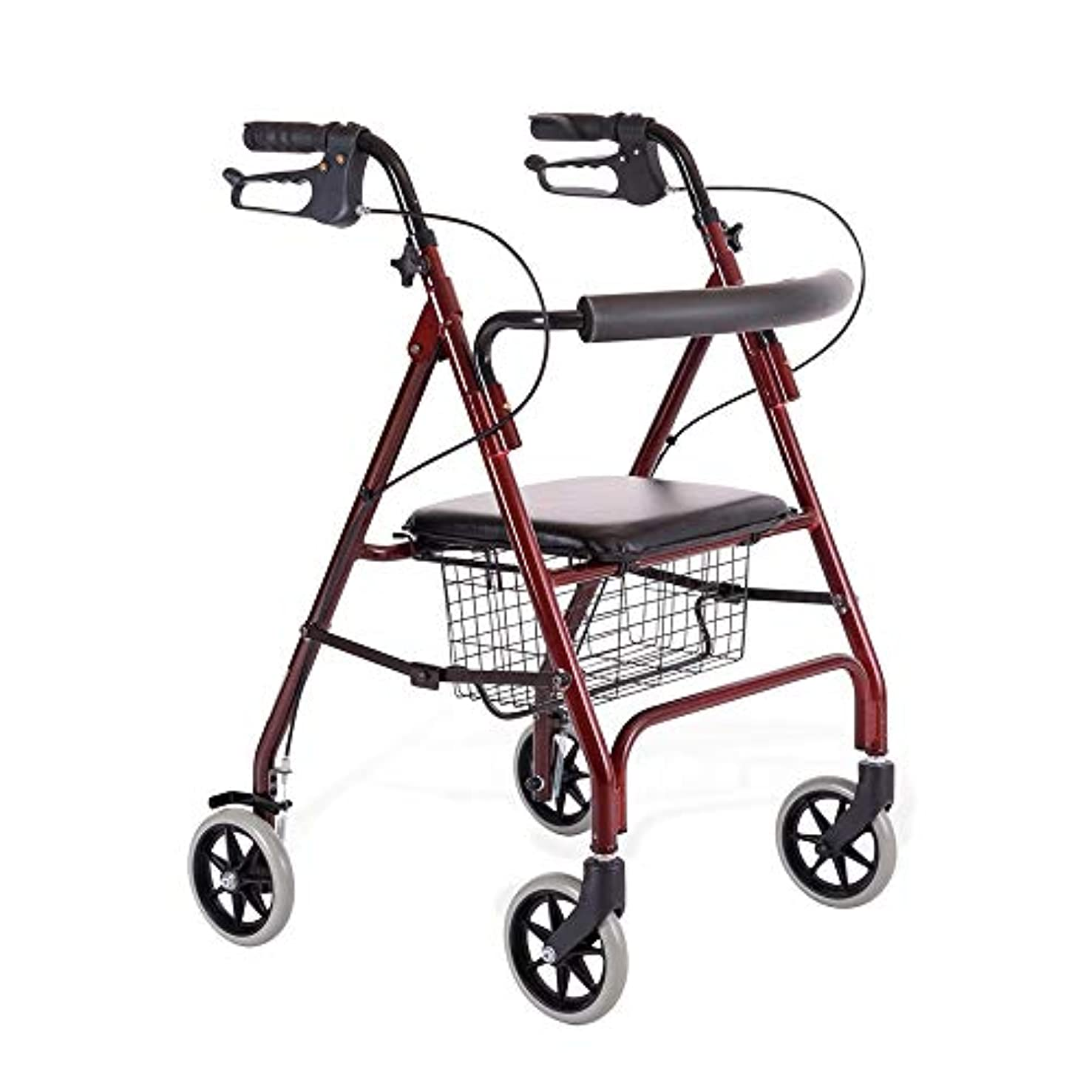 ゲストミリメートル設計シートと買い物かご付き軽量折りたたみ式歩行歩行器、高さ調節可能、4車輪可動補助具