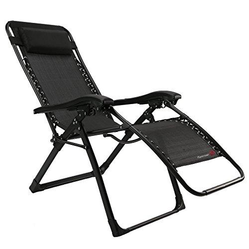 FLAMROSE 枕一体型折り畳みリラックスリクライニングチェア (ブラック) 耐荷重200kg