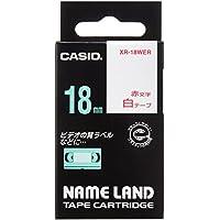 カシオ ネームランド ラベルライター テープ 18mm 白 赤文字 XR-18WER